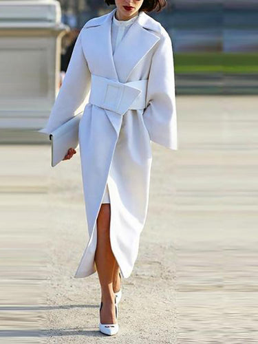 Long Slim Belted Waist Wooled Coat