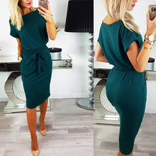 Load image into Gallery viewer, Crew Neck  Lace-Up  Belt Belt Loops Bust Darts  Plain  Roll-Up Sleeve Bodycon Dresses