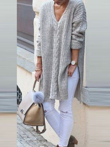 V-Neck Long-Sleeved Long Sleeve Sweater