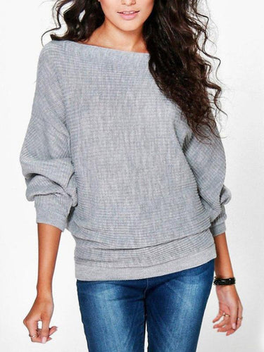 Baggy Bat Long Sleeve Knitted Sweater