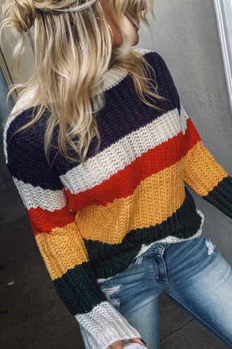 Fashion Rainbow Striped Knit Sweater
