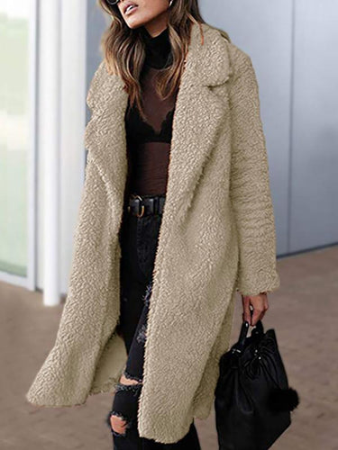 Winter Fashion Lapel Plush Long Coat