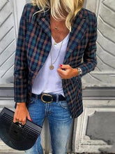 Load image into Gallery viewer, Fashion Slim Plaid Long Sleeve Blazer