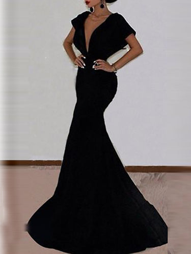 Sexy Deep V-Neck Bag Hip Open Back Evening Dress