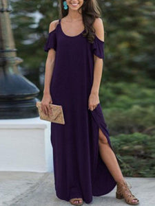 Drop-Shoulder Short-Sleeve Solid Maxi Dress
