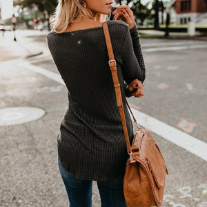 2018 Autumn Plain V-Neck Long Sleeve Slim Sweater