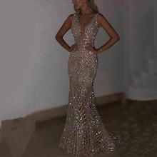 Load image into Gallery viewer, Sexy Sleeveless Deep V Sequined Dress