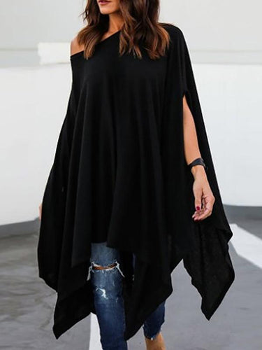 Loose Asymmetrical Hem Batwing Sleeve Casual Dress