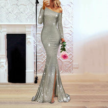 Load image into Gallery viewer, Fashion Sexy Sequin Off Shoulder Evening Dress