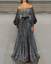 Load image into Gallery viewer, Sexy Fashion Off Shoulder Puff Long Sleeves Sequin Slim Evening Dress