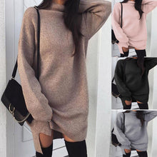 Load image into Gallery viewer, High Neck  Plain  Batwing Sleeve Sweaters