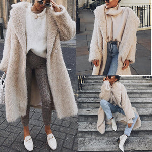 Fashion Lapel Collar Plain Floss Keep Warm Long Coat