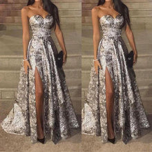 Load image into Gallery viewer, Sexy Silver Sleeveless  Sequins Fishtail Evening Dress