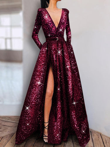 Shiny Plain Long Sleeve Evening Dresses