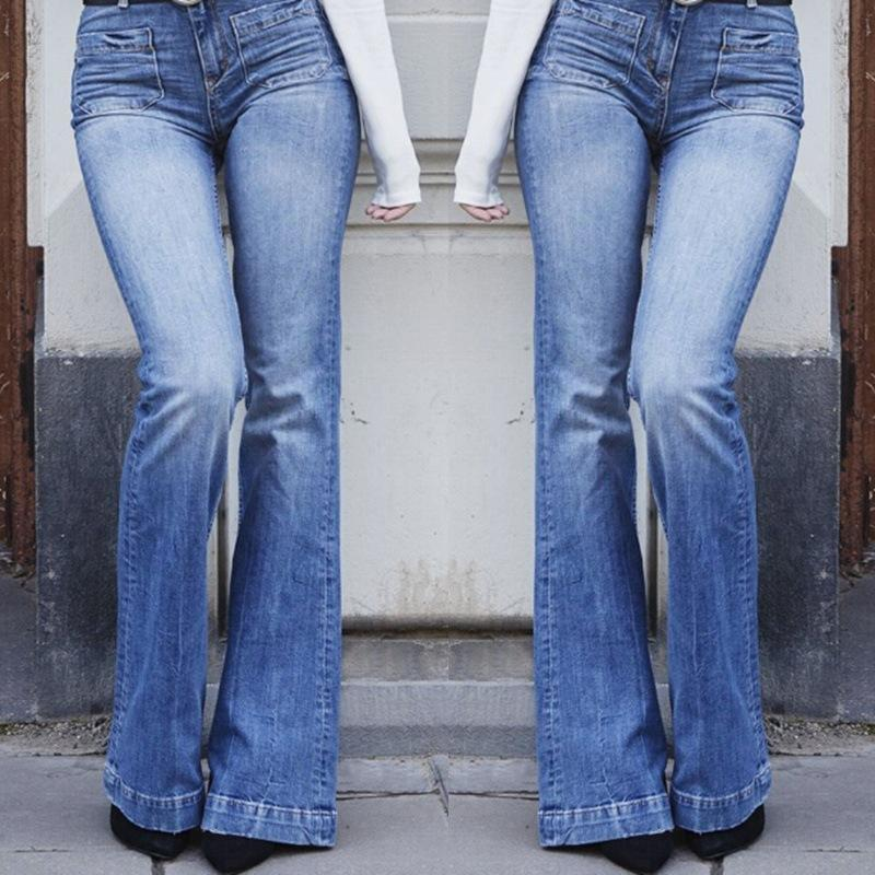 093a470676 ... Load image into Gallery viewer, Fashion Slim Body High Waist Wide Leg  Pants Jeans ...