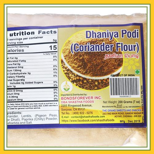 Grand Sweets & Snacks - Dhania Podi (200 Gms)
