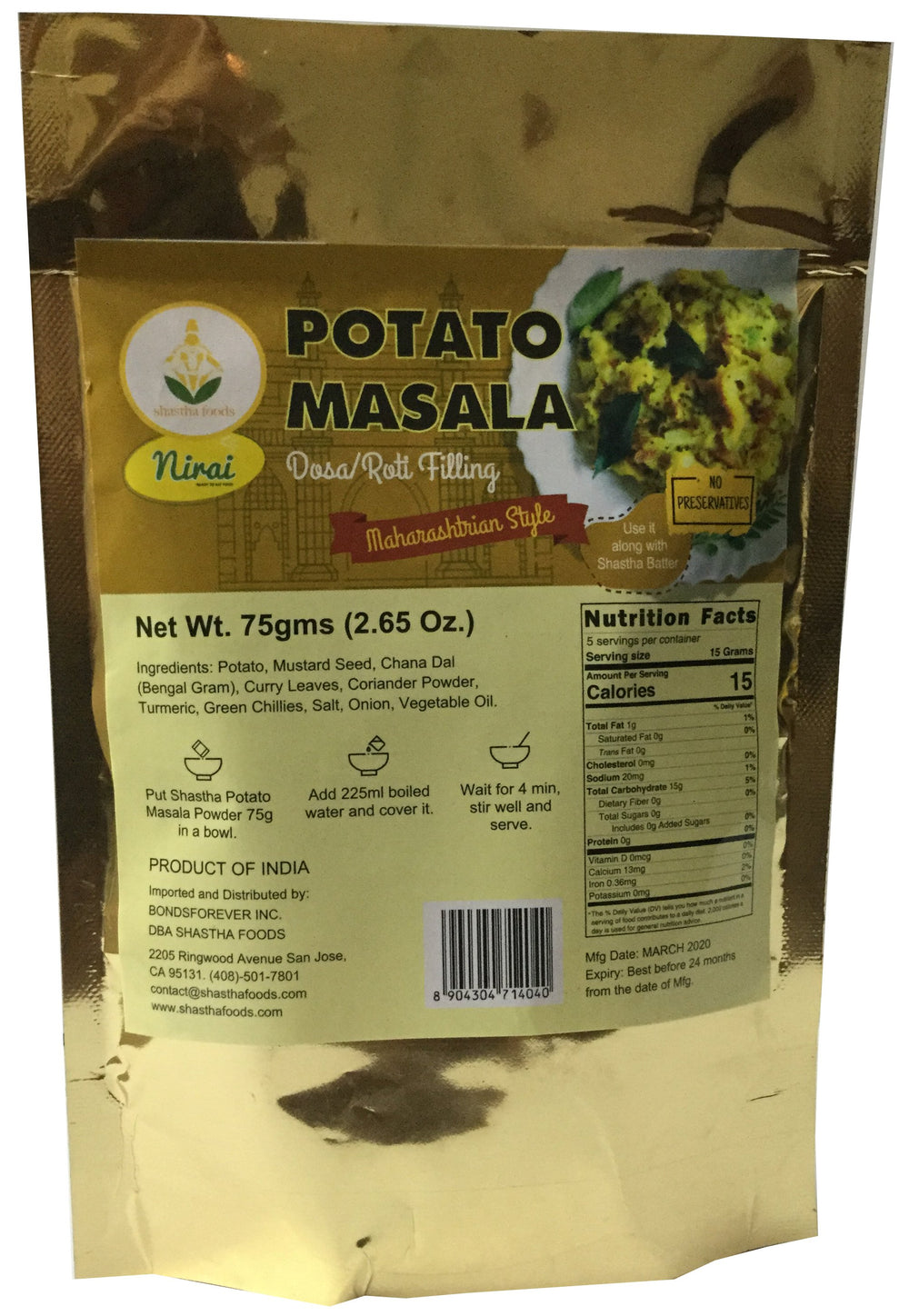 Shastha Potato Masala (