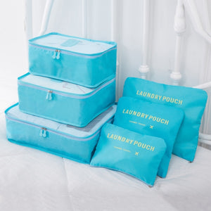 Multi-Colored Packing Cubes with Laundry Bags - The Traveler's Essentials