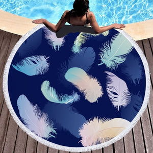 Fashion Feather Round Microfiber Beach Towel - The Traveler's Essentials