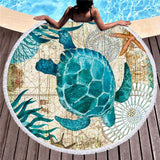 Sea Turtle/Dolphin Microfiber Beach Towel and Cover-Up - The Traveler's Essentials