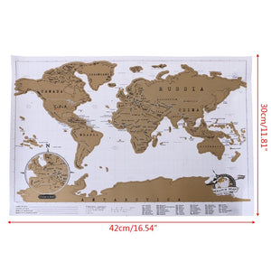 White & Gold Scratch Off Map of The World