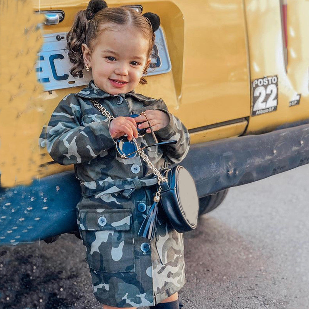 Kids Camo Trench Coat