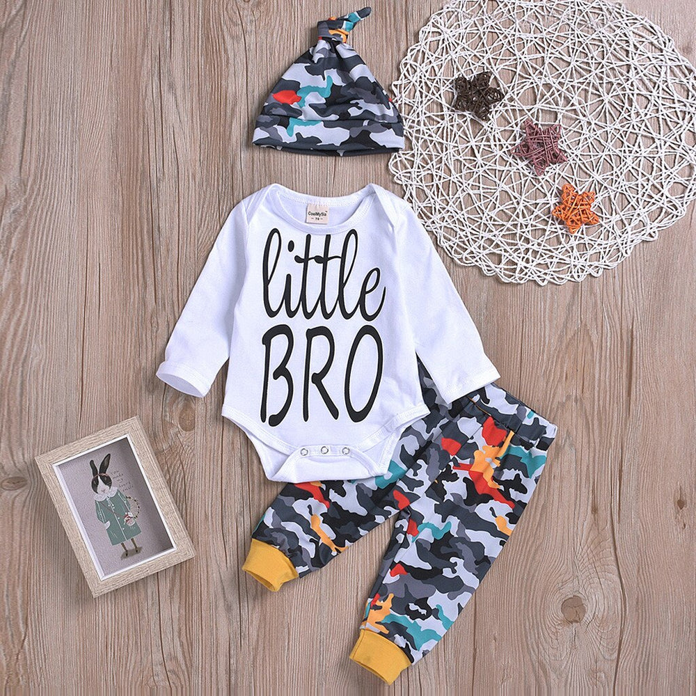 Infant Little Bro Shirt & Camo Joggers