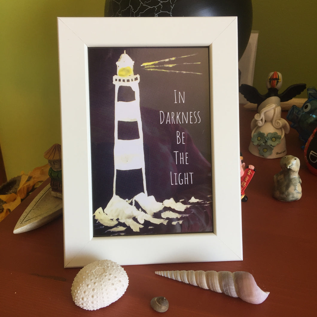 Lighthouse Framed Print with quote