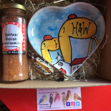 Load image into Gallery viewer, Belfast Hamper. Luxury Belfast Relish and a Pottery heart Plate