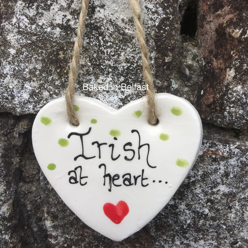 Irish at Heart hanging heart plaque