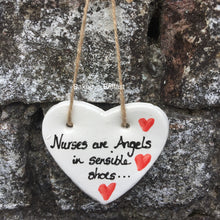 Load image into Gallery viewer, Nurses Are Angels Ceramic Heart Plaque