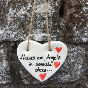 Nurses Are Angels Ceramic Heart Plaque