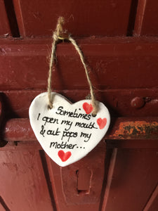 Out Pops Mother Ceramic Hanging Heart