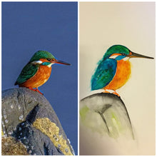 Load image into Gallery viewer, Queenie Kingfisher Watercolour Painting
