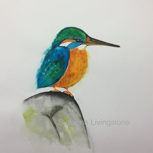Queenie Kingfisher Watercolour Painting