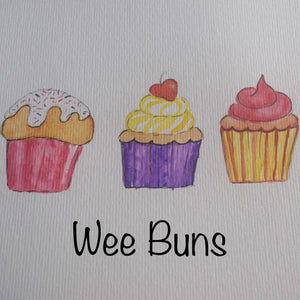 Wee Buns, Birthday or Congratulations Card with Cupcakes