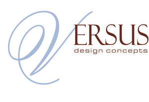 Versus Design Concepts with Blue scroll font V and brown more plain font ERSUS with small design concepts underneath.