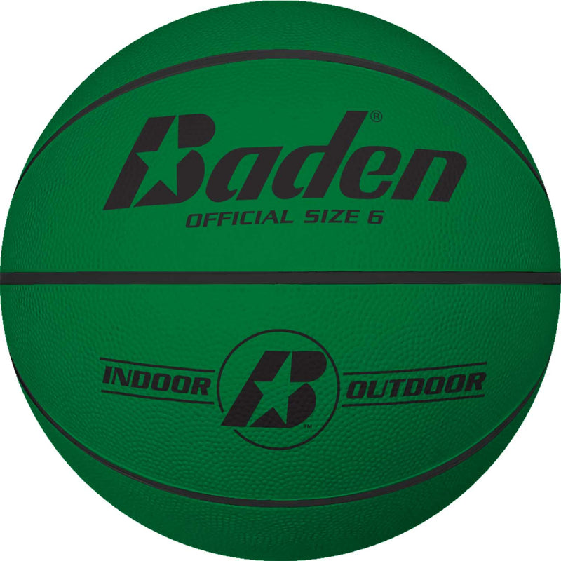 Baden Classic Rubber Basketball - Size 6 for ages 10 and up - green