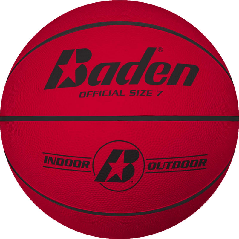Baden Classic Rubber Basketball - Size 7 for ages 15 and up - red