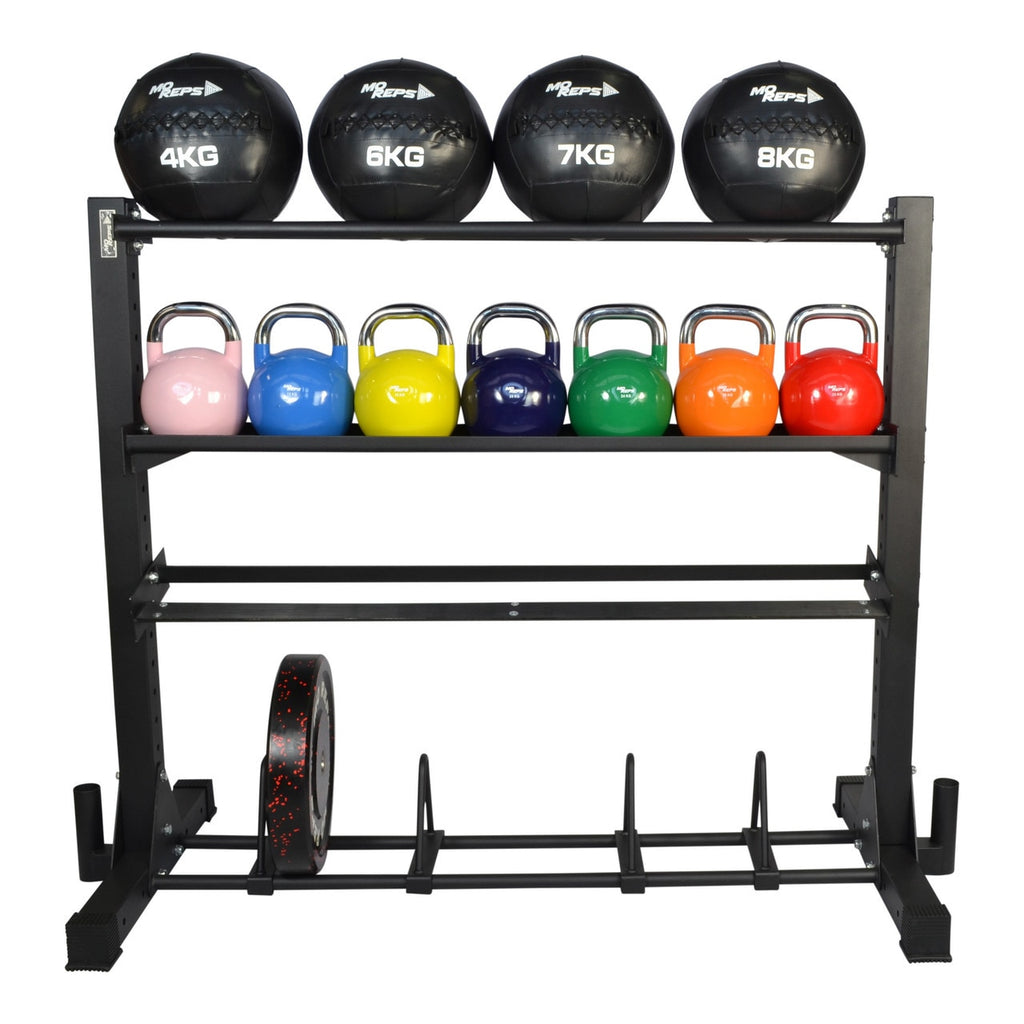 Storage Rack - 4 Tier Kettlebell - Med Ball - Bumpers