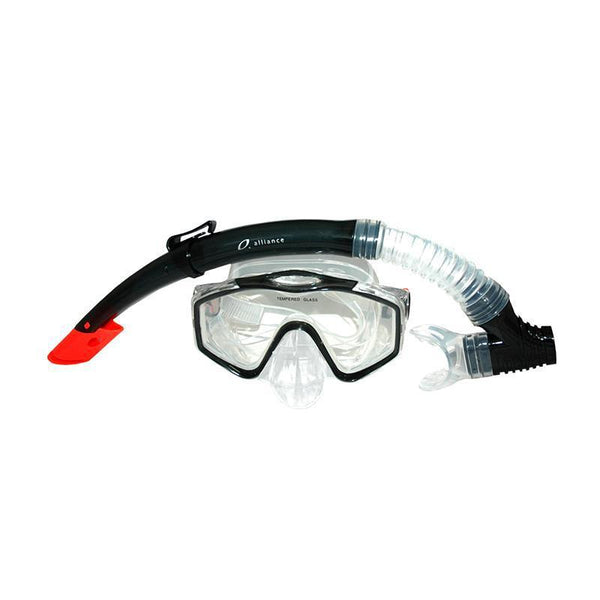 Alliance Mask And Snorkel Set Silicone Senior Smokey Black-MO REPS® Fitness Store