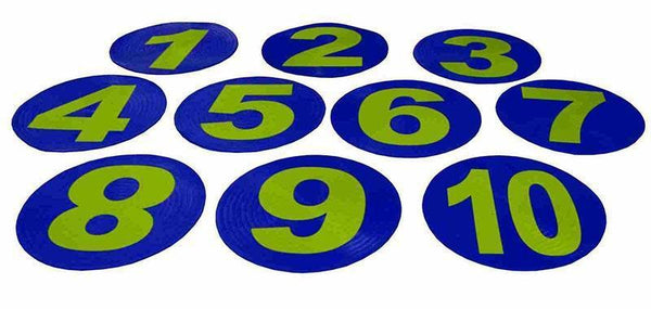 Field Marker - Flat Numbered Rubber Set of 10-Numbers 1 to 10-MO REPS® Fitness Store