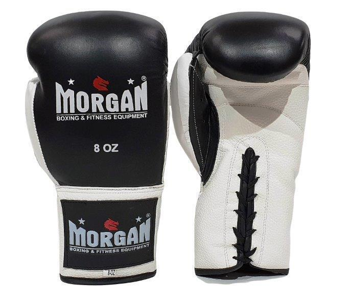 Morgan Lace Up Leather  Fight Night Boxing Gloves (8-10-12oz)