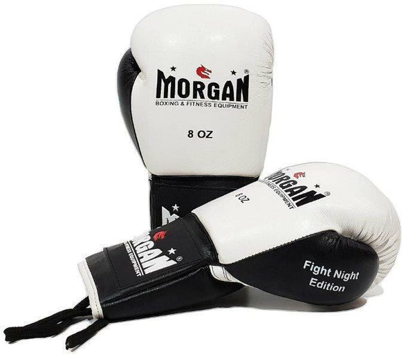 Morgan Lace Up Leather Fight Night Boxing Gloves (8-10-12oz)-MO REPS® Fitness Store