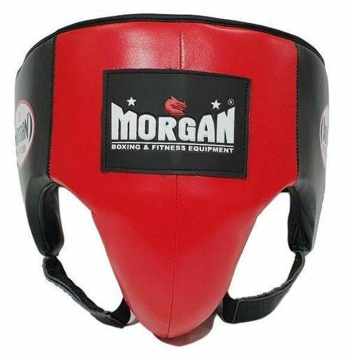 Morgan Platinum Leather Abdominal Groin Guard-S-RED-MO REPS® Fitness Store