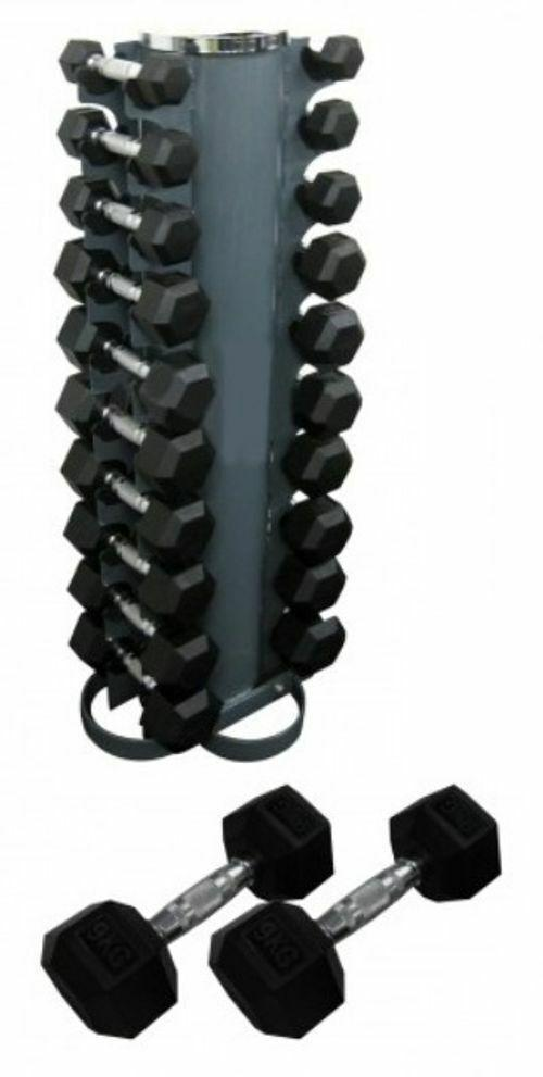 Morgan Rubber Hex Pack 133kg (2-12.5kg) + Vertical Stand-MO REPS® Fitness Store