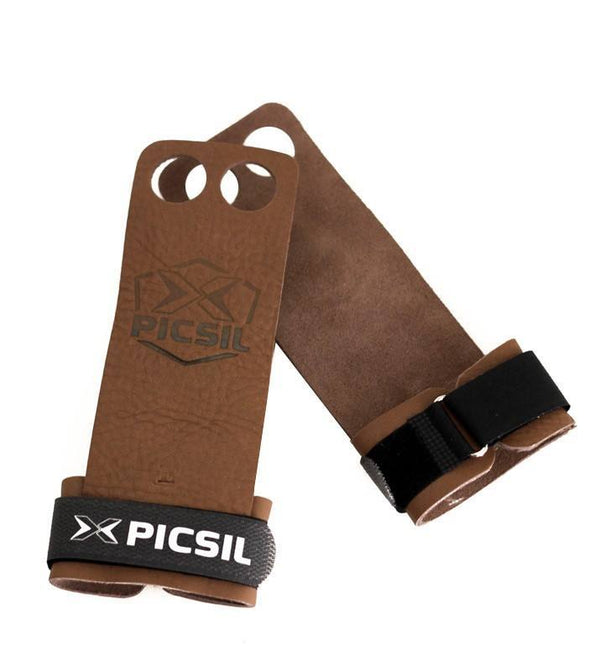 PicSil XStrong Palm Grips - 2 Fingers-Small-Brown-MO REPS® Fitness Store