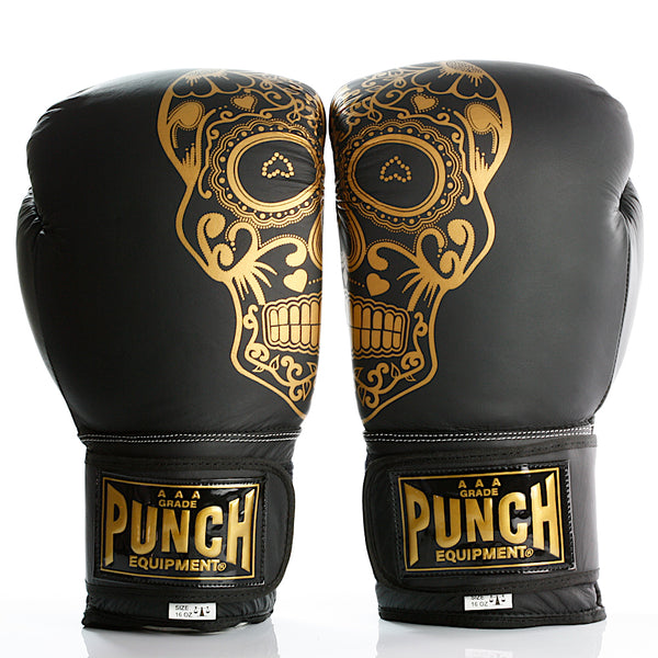 Punch Trophy Getters Boxing Gloves - Gold Skull Art
