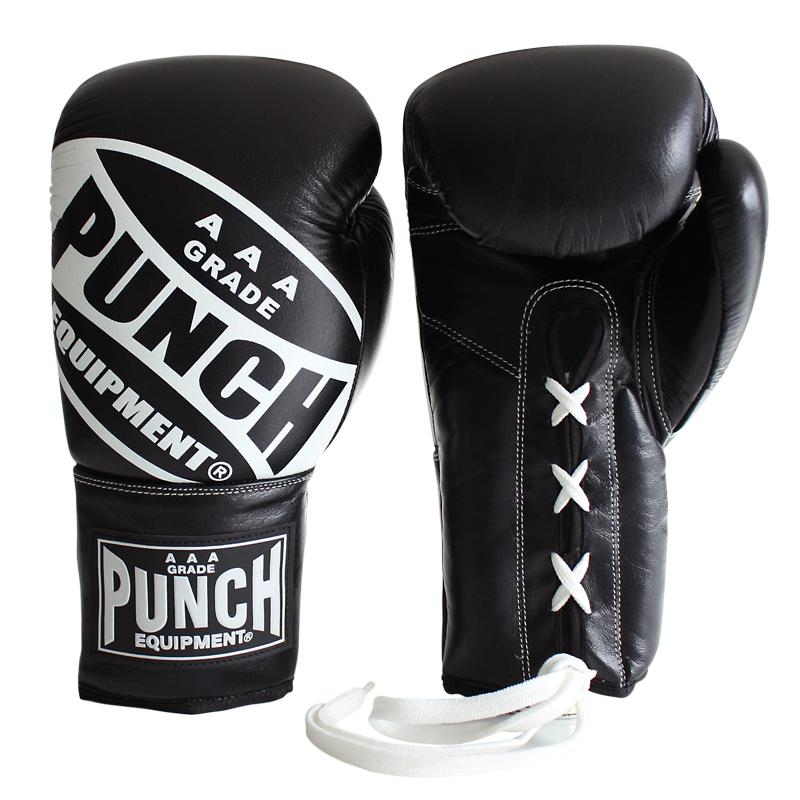 Punch Trophy Getters Lace Up Boxing Fight Gloves-10oz-Black-MO REPS® Fitness Store