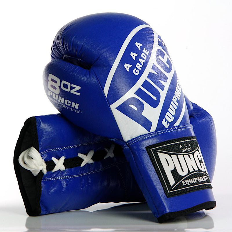 Punch Trophy Getters Lace Up Boxing Fight Gloves-8oz-Blue-MO REPS® Fitness Store